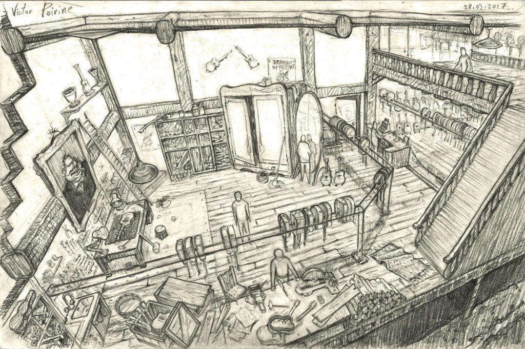 1200euros - recherche pour un environnement (atelier d\\\'un luthier) dans lequel se déroulera un conte pour enfant.. A3
