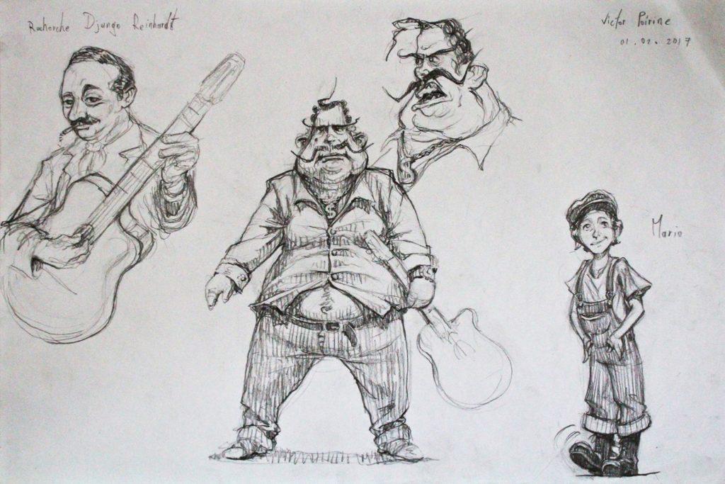 150euros - création de personnages avec un Django Reinhardt stylisé pour un projet d\'histoire. A3