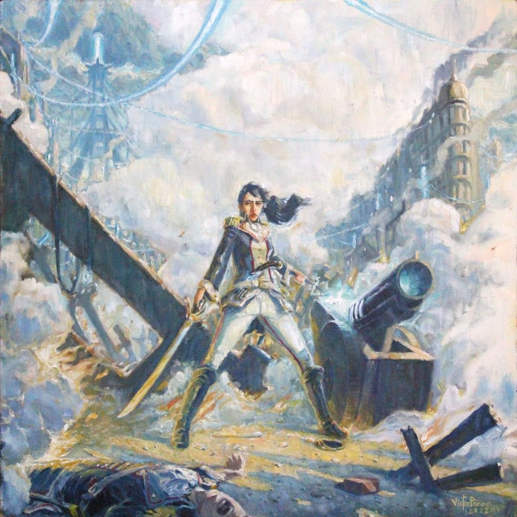Illutration dans une ambiance de révolution entre deux époques. Inspirée du jeu dishonored. huile sur panneau. 53.8x53.8 cm
