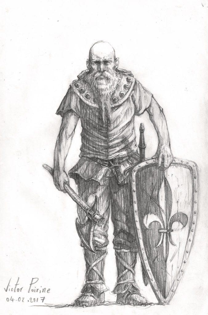un vieux guerrier médiéval sur une page de mon carnet. Crayon