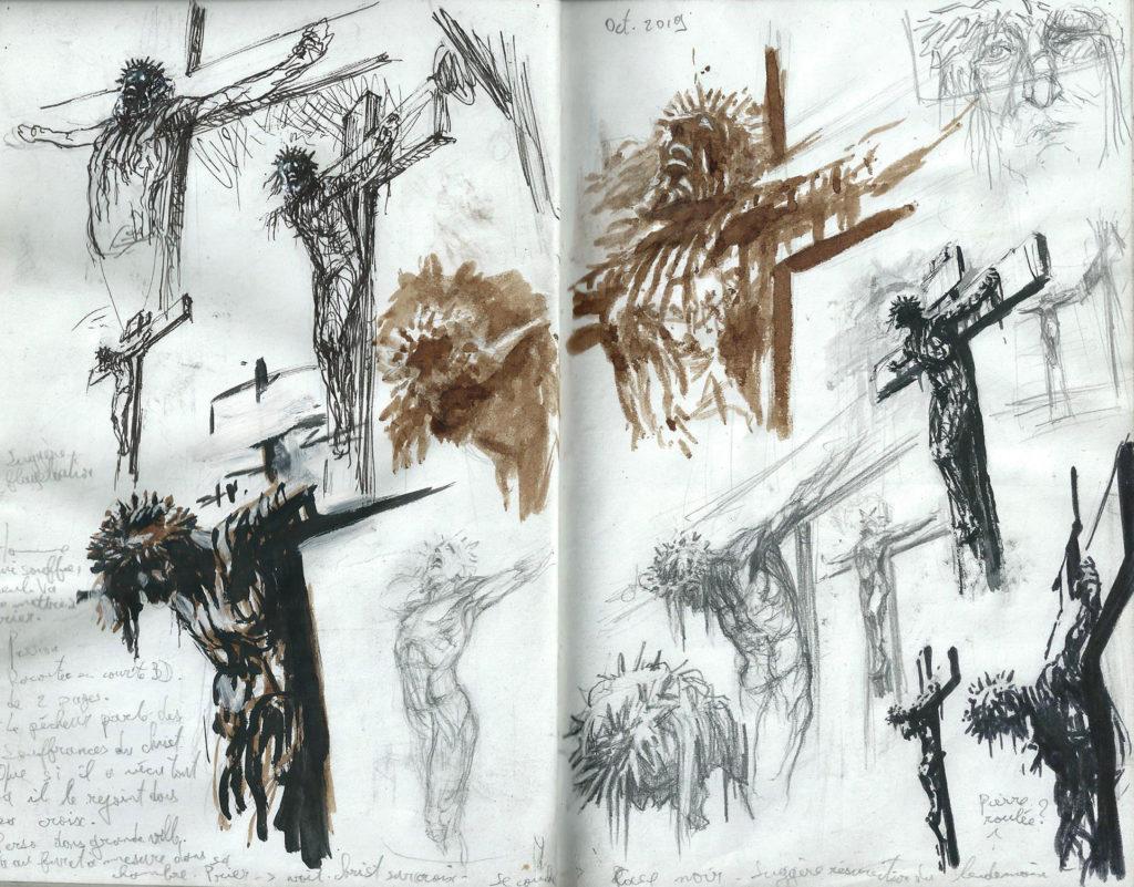 recherches sur la souffrance de la crucifixion dans mon carnet