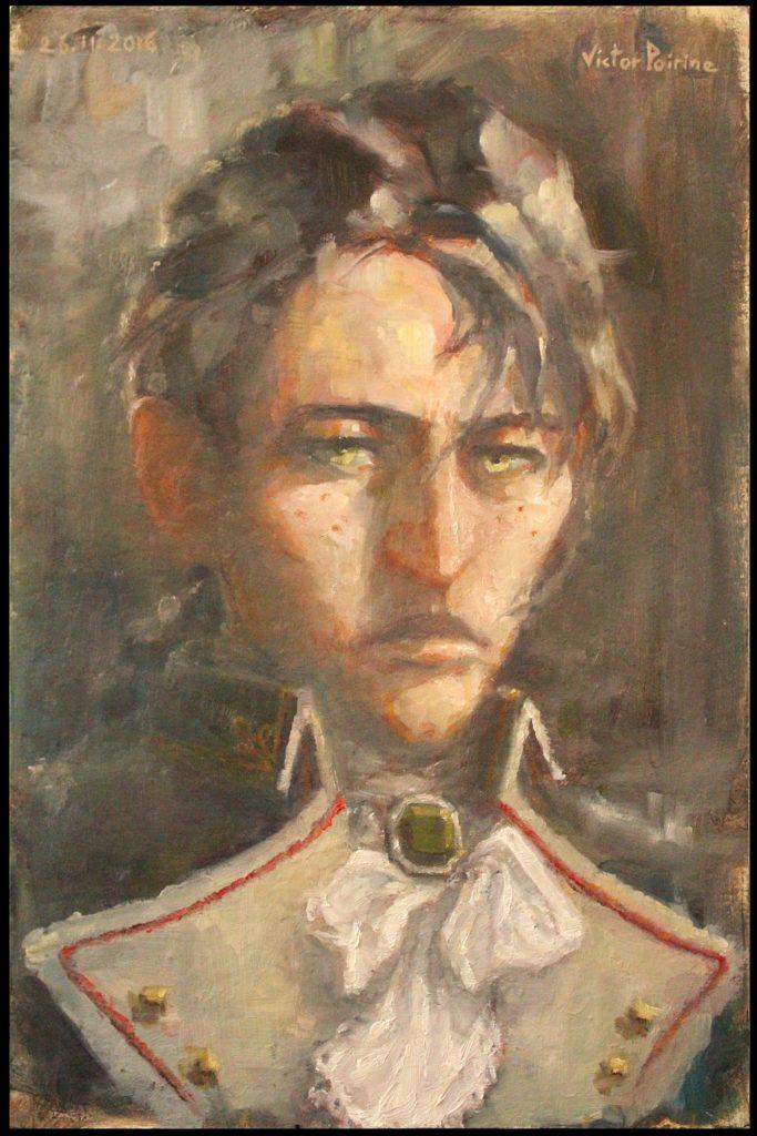 1200euros - personnage inventé en essayant de le faire dans le style graphique de Dishonored : Irina, commandant d\'armée, portrait à l\'huile32x48,5cm