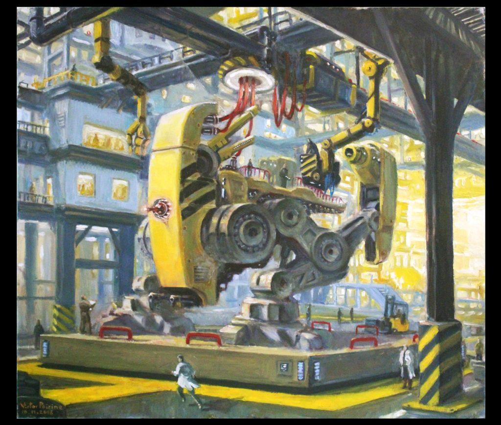 2500euros - huile sur panneau d\'un robot SF dans une usine45x39,4 cm
