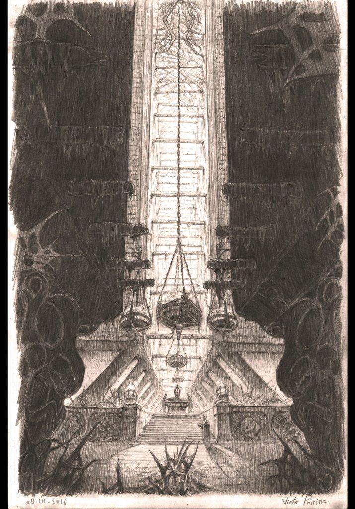 Temple aux rituels interdits 27,7x42cm, crayon