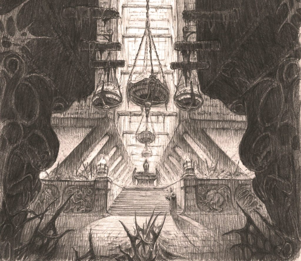 Temple aux rituels interdits 27,7x42cm, crayon(zoom)