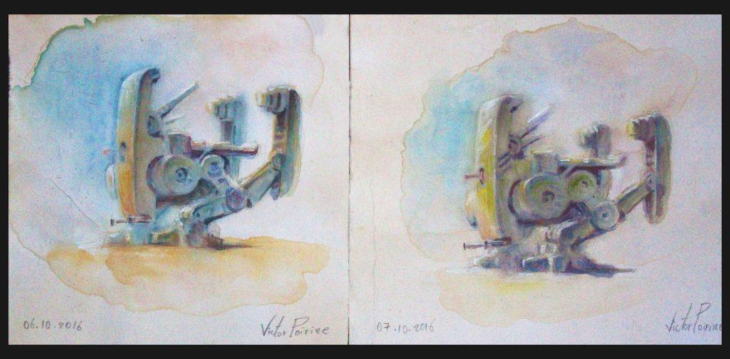 90 euros chacune - recherches de couleur à l\'aquarelle pour la peinture d\'un robot