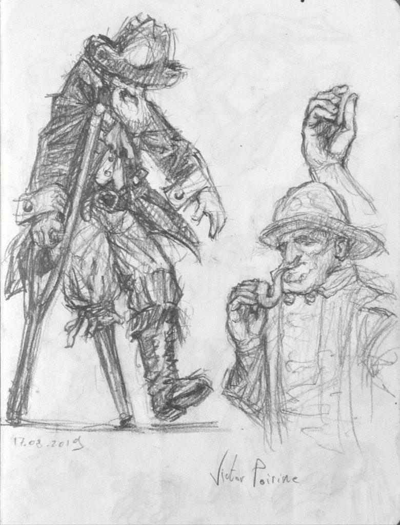 100euros - croquis d\'un pirate et d\'un marin dans un carnet. 21X15,5cm