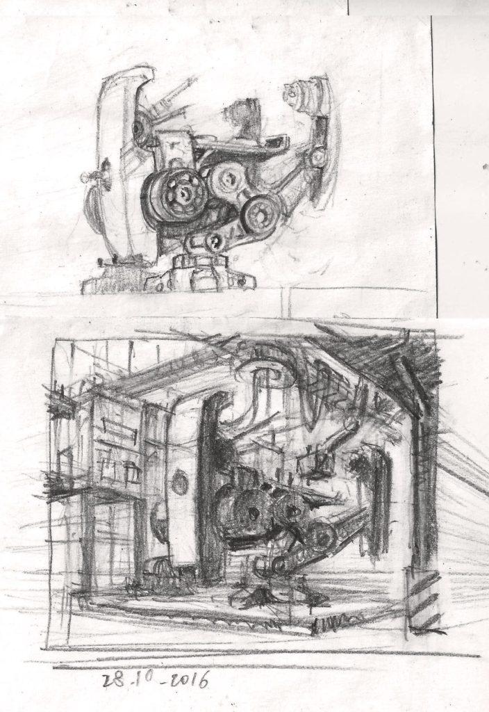 recherches pour la peinture d\'un robot. Sur un coin de feuille