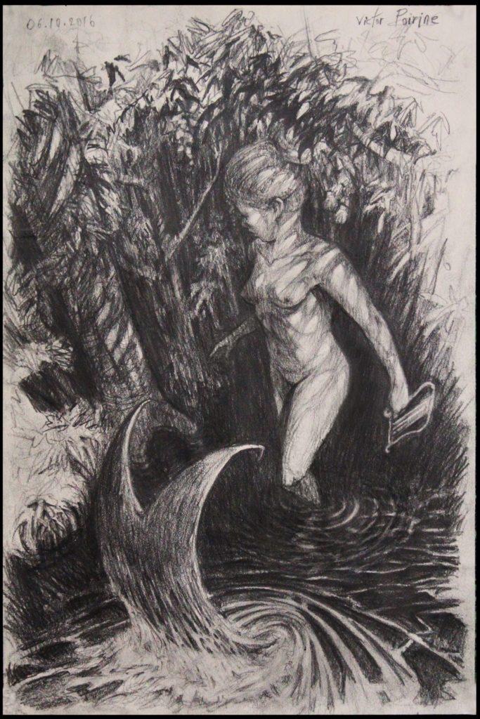 Sirène en transformation dans son coin de forêtvendu