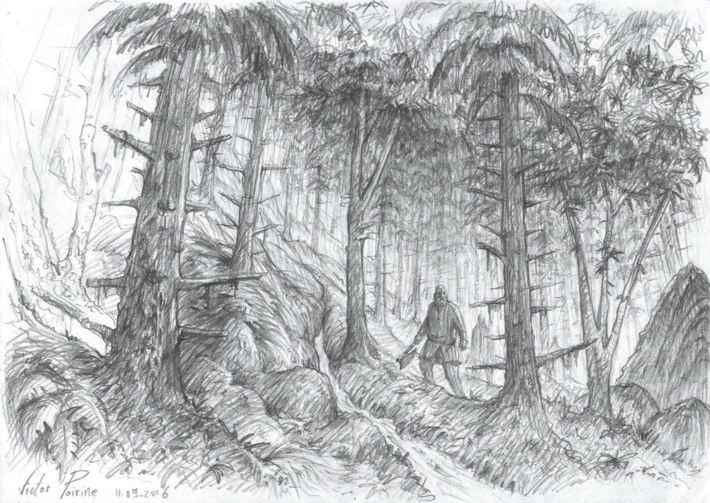 illustration sur un A4 d'une balade en forêt