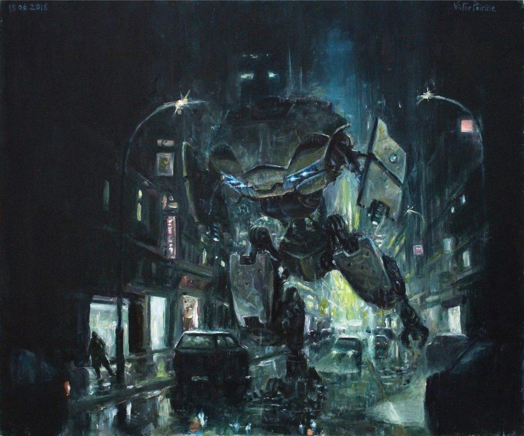2500euros - machine de guerre en ville, peinture sfhuile sur panneau, 44x36,8cm