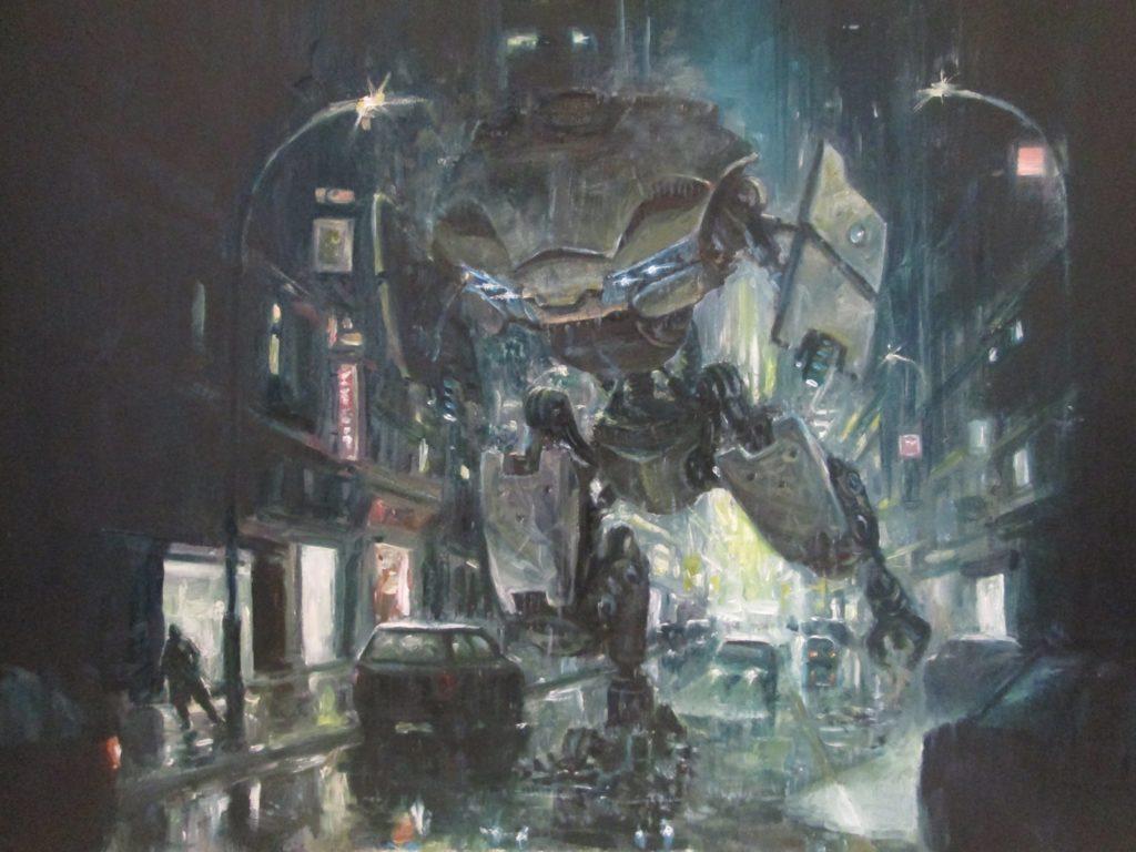 2500euros - machine de guerre en ville, peinture sfhuile sur panneau, 44x36,8cmzoom
