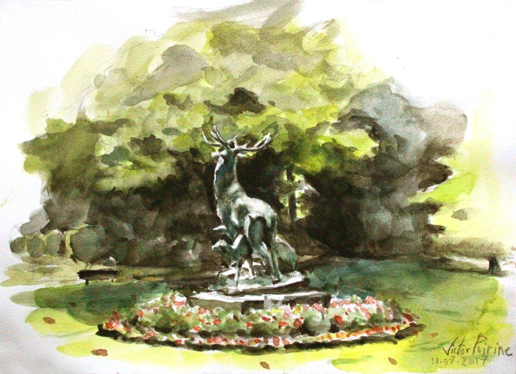 aquarelle sur canson au Jardin du Luxembourg à Paris