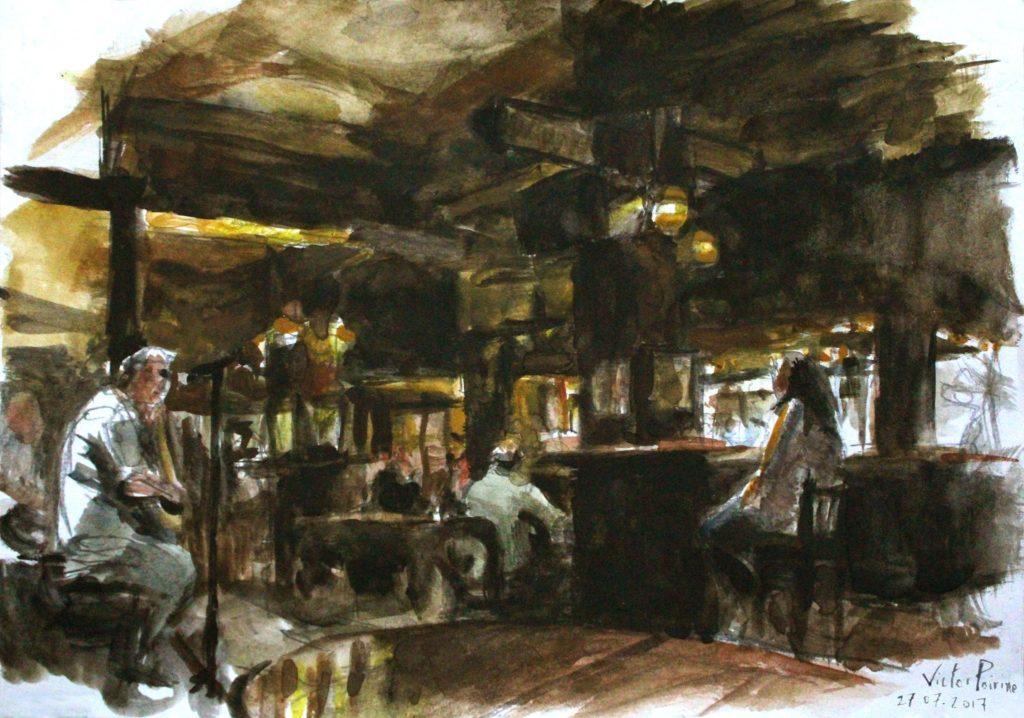aquarelle sur canson dans un pub à Dublin