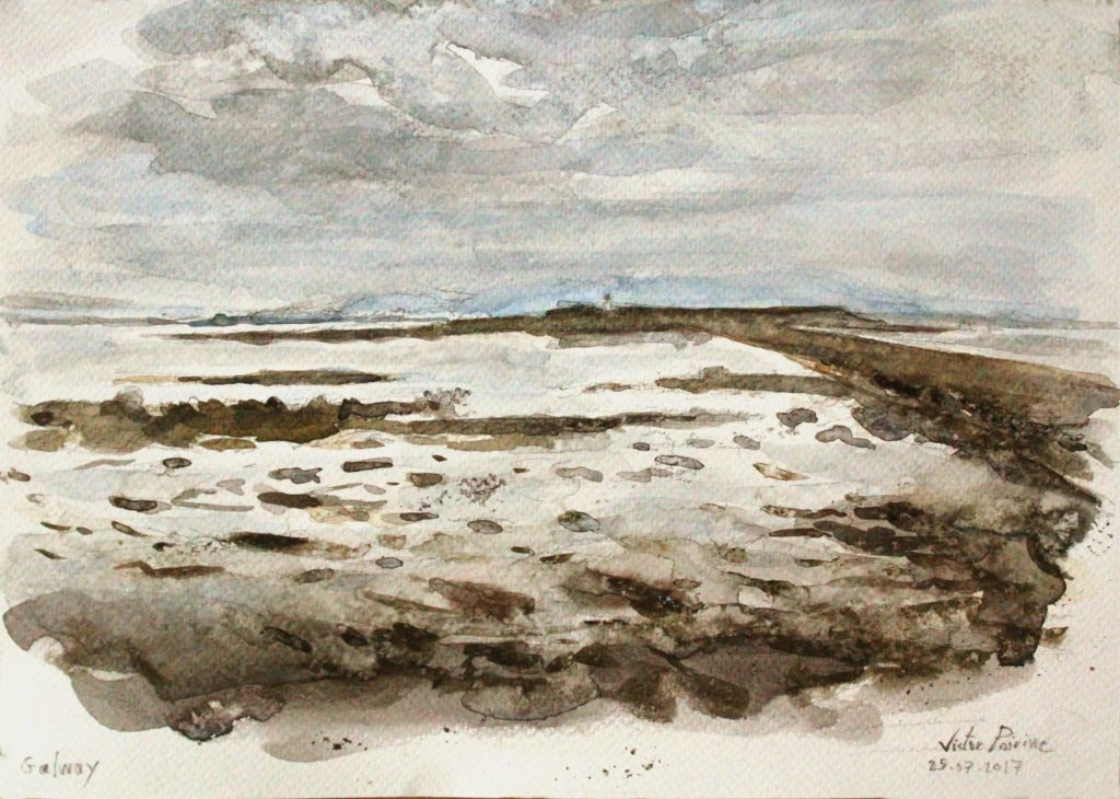 Vue sur le Phare depuis une côte à Galway city. Aquarelle sur papier aquarelle