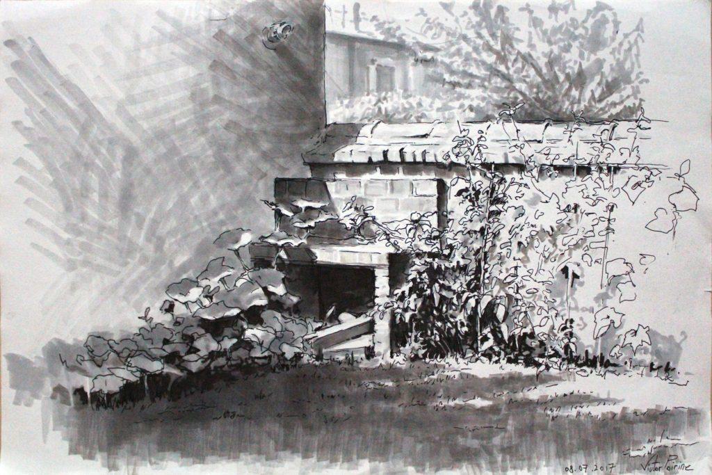 dessin d\'un coin de jardin de mon voisin et de son potagé à Alfortville. Feutres et stylo plume noir