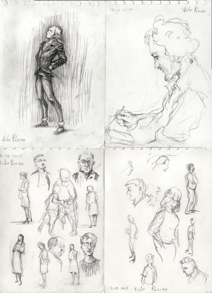 en haut à gauche, croquis d\'après souvenir d\'un homme observant une oeuvre.En haut à droite croquis de Simon Dupuis Sculptheos dessinant en attendant à notre stand. Et en bas d\'autres visiteurs croqués en quelques secondes... Le tout au salon d\'automne de Paris 2017