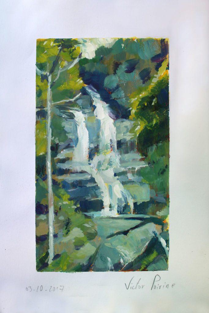 Petite gouache dans mon carnet d'une cascade en forêt
