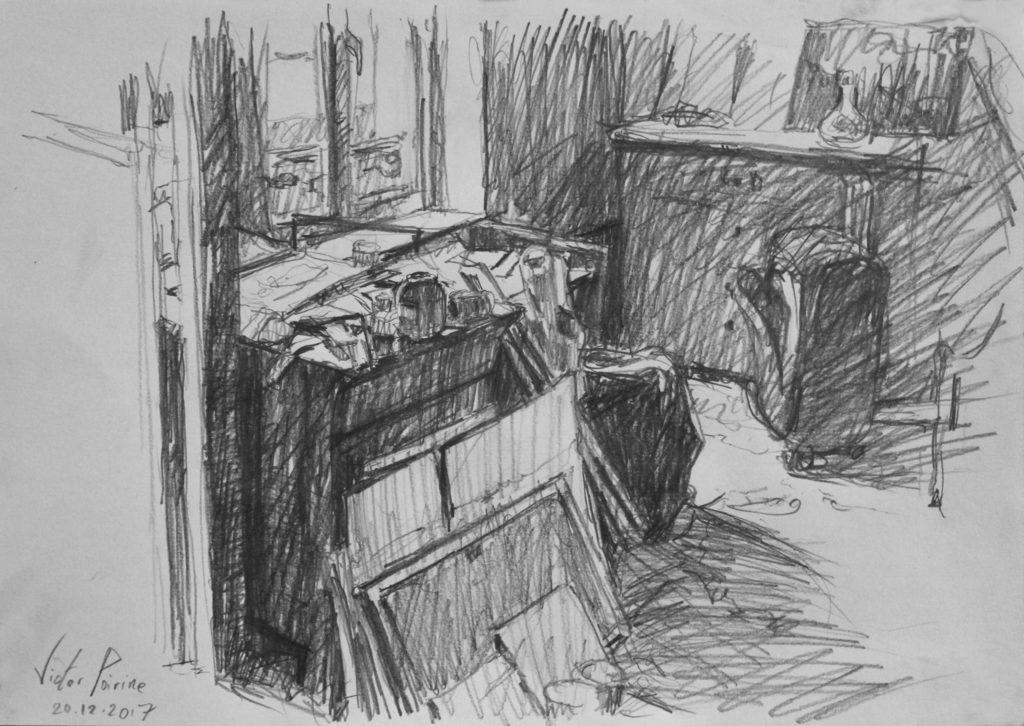 croquis faisant partie d\'une série au crayon sur A4 chez ma mère avant de déménager des affaires chez-moi. J\'ai trouvé que cet empilement d\'objets était très esthétique !