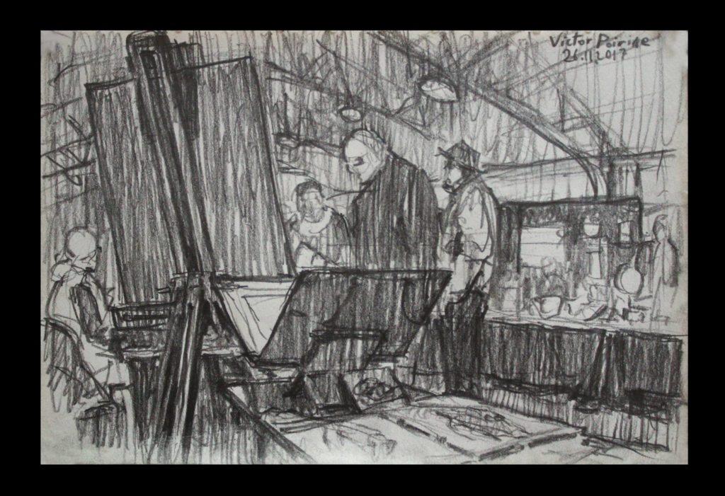 petit croquis au crayon dans mon carnet de ce que je voyais depuis mon stand de peinture au Balthaz\'art 2017