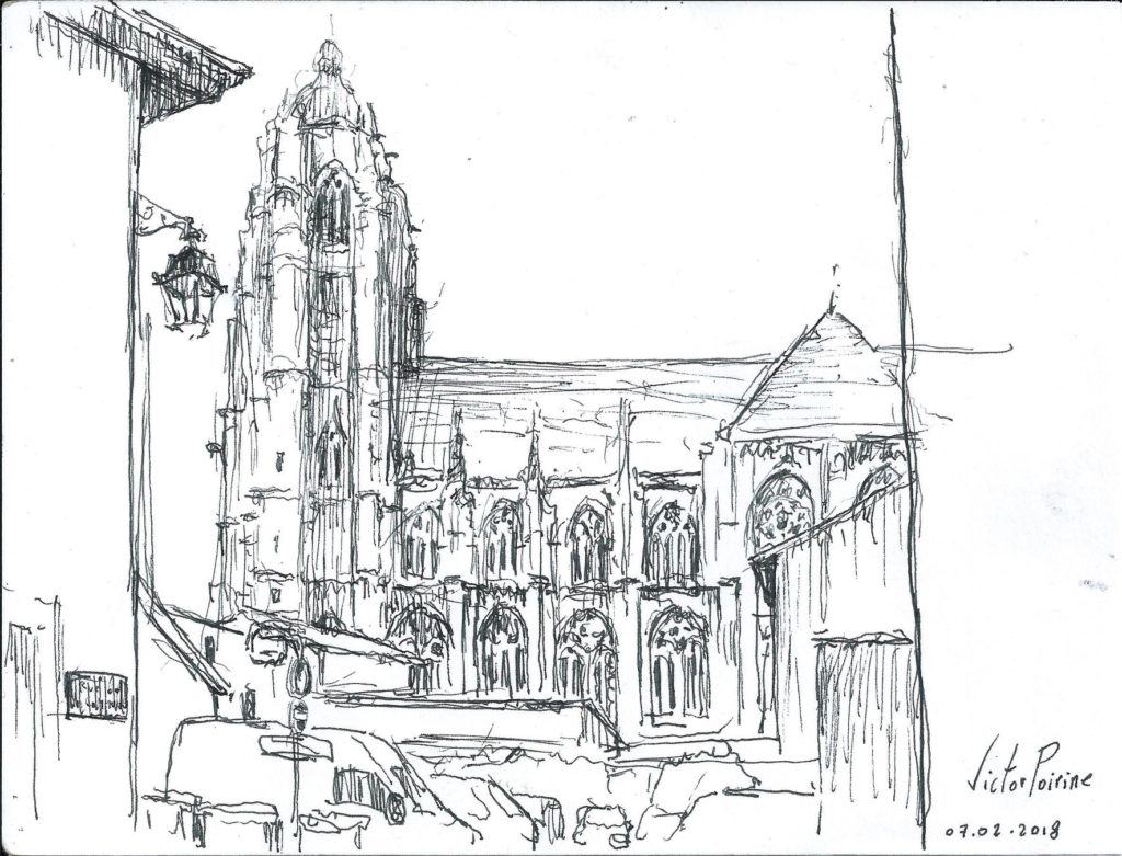 dessin au stylo encre noir de la basilique, rue de la commune à Saint-Nicolas-de-Port