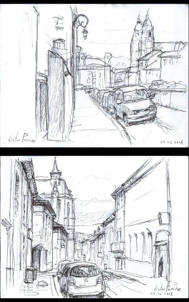 dessins au stylobic dans l\'avenue Jolain en haut et dans la rue Anatole France en bas. Ville de Saint-Nicolas-de-Port