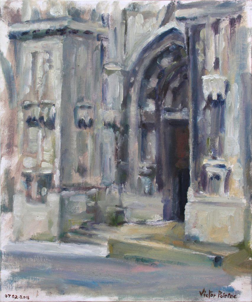 Une entrée de la basilique à Saint-Nicolas-de-Port. Huile sur panneau entoilé. 59,5X32,5cm.