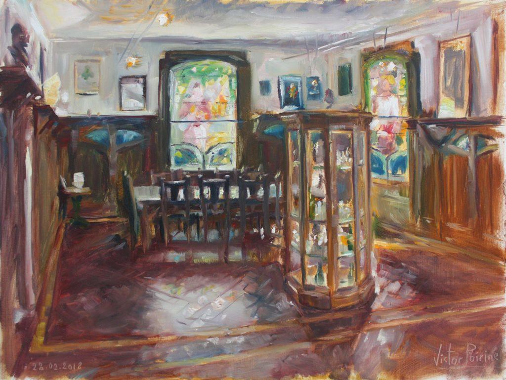 intérieur du musée de la brasserie à Saint-Nicolas-de-Port avec des vitraux art nouveau de Grubert. huile sur papier toile, 48x36 cm