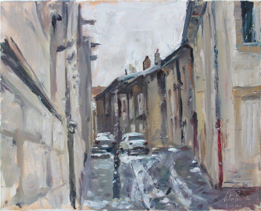 Peinture à l'huile sur toile de la rue des Fonts à Saint-Nicolas-de-Port, au pied de la basilique. 41x32,5cm