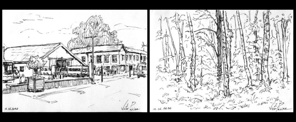 120euros chaque dessin - 2 croquis de la rue de l\'école de musique de st-Nicolas-de-Port et de la forêt du parcours de santé de Varangéville