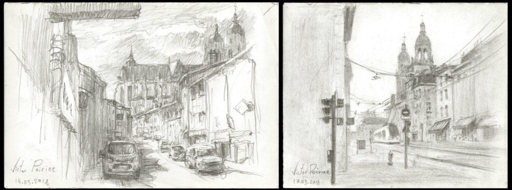 croquis à Saint-Nicolas-de-Port dans la rue Anatole France à gauche, et croquis de la rue Saint Georges à Nancy à droite. Crayon sur papier.