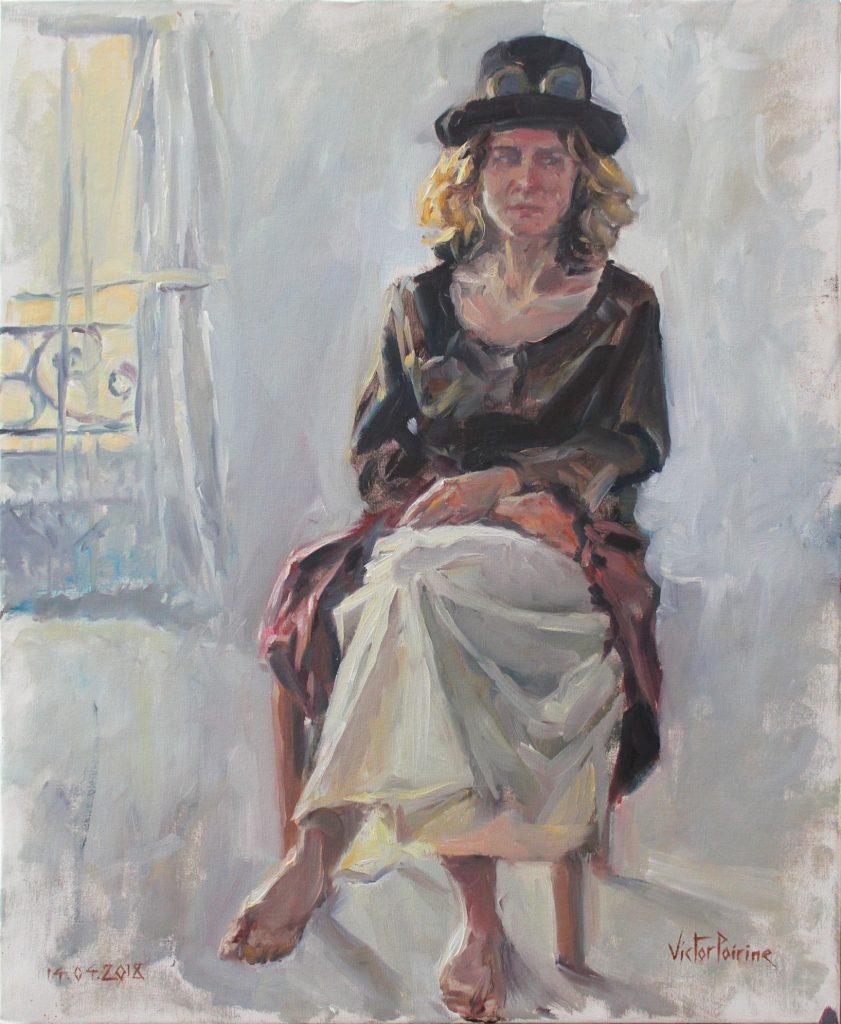 Peinture de Pauline, mon amie d'enfance. 47,5X58. Huile sur panneau entoilé.