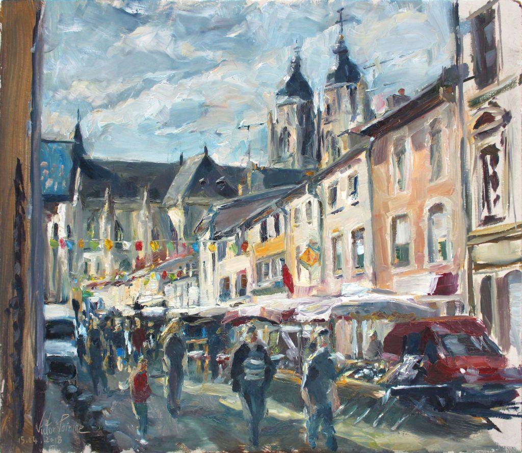 Lors de la potée portoise, dans le bas de la Rue Anatole France à Saint-Nicolas-de-Port. Huile sur panneau. 45,5X40cmVendu