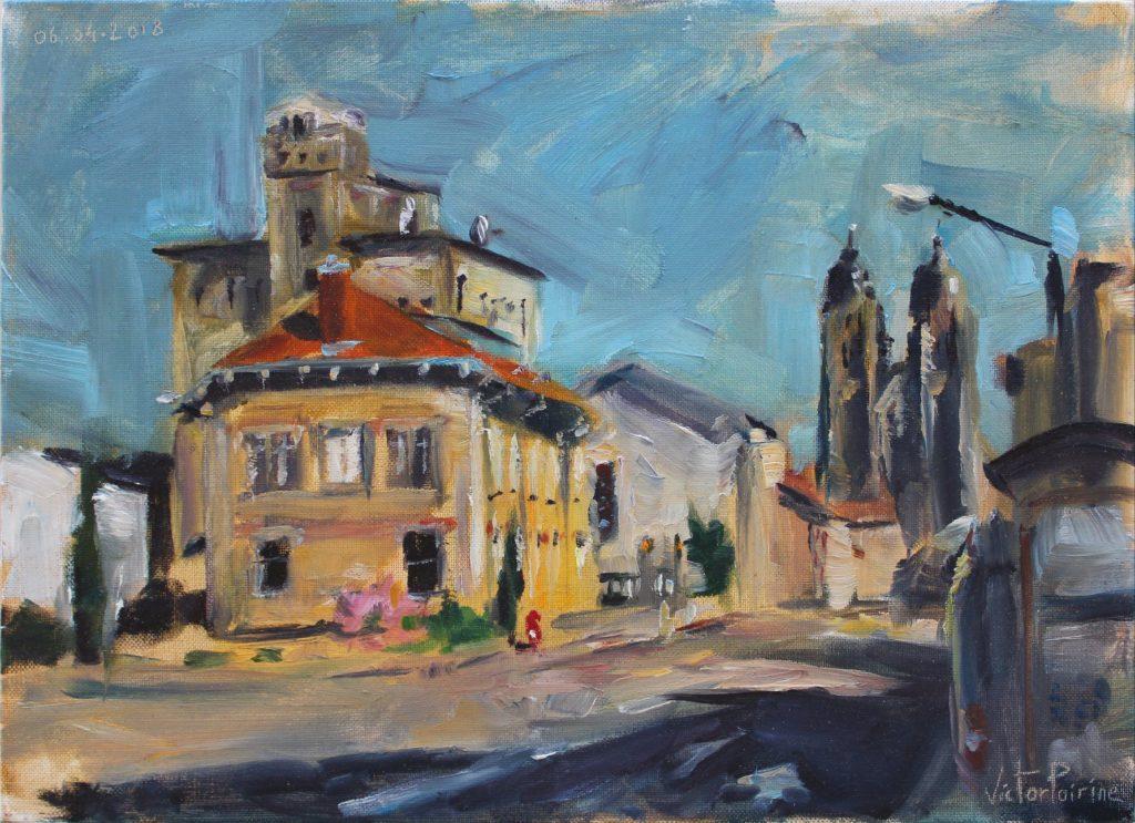 Vue du musée de la brasserie et de la basilique de Saint-Nicolas-de-Port en plein soleil. 33X24cm. Huile sur panneau entoilé.