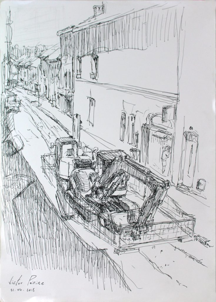 Dessin au stylo depuis ma fenêtre. Vue sur les travaux de la Rue Anatole France.