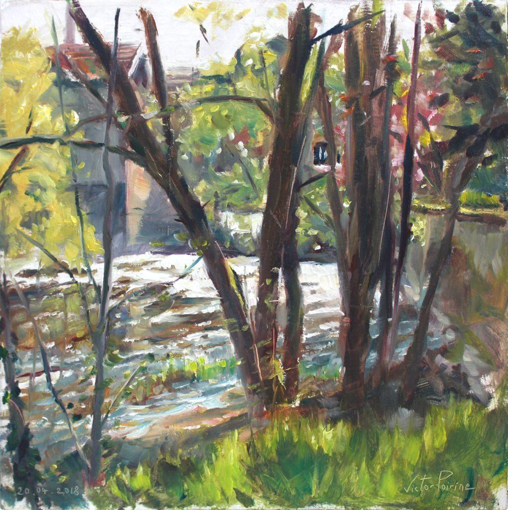 vue de l'écluse entre les arbres à Saint-Nicolas-de-Port. Huile sur panneau. 33,4X33,2cm