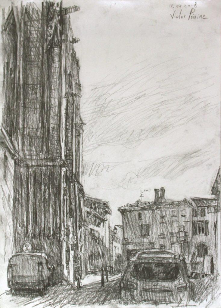Dessin au crayon près de la basilique dans la Rue Simon Moycet à Saint-Nicolas-de-Port.