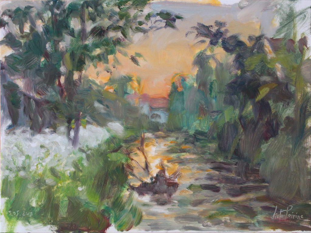 coucher de soleil près du canal à Saint-Nicolas-de-Port. Huile sur papier toile, 30x40cm. Réalisée en 30 minutes