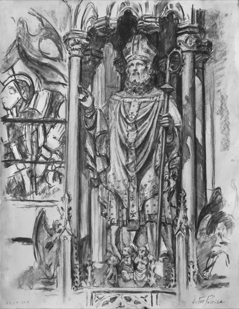 Dessin au fusain sur format raisin d\'une statue de Saint-Nicolas dans la basilique de Saint-Nicolas-de-Port