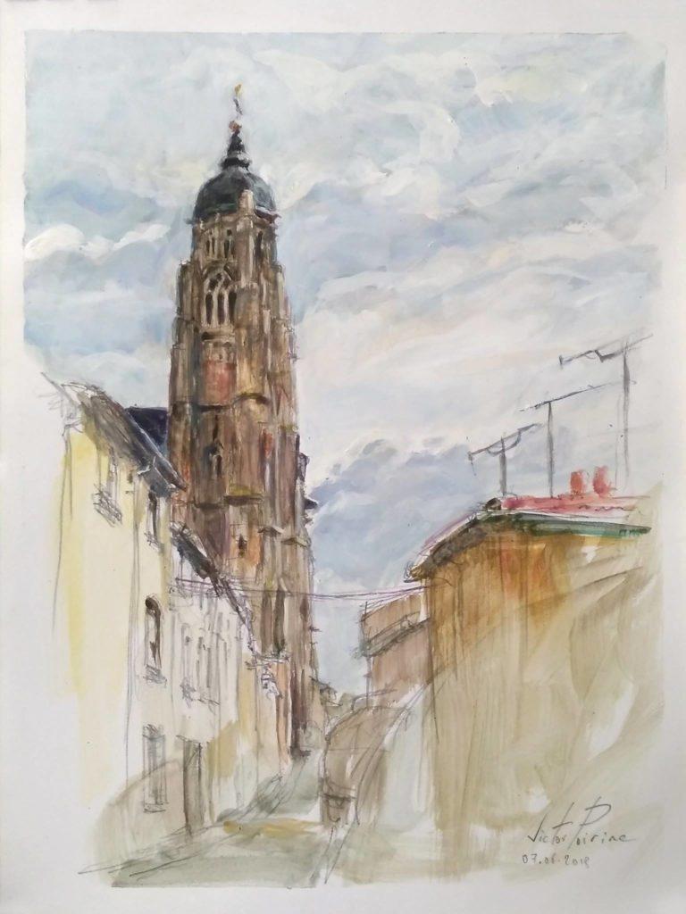 croquis au crayon et gouache sur papier A4 dans la rue Simon Moycet à Saint-Nicolas-de-Port. Vue sur la basilique.