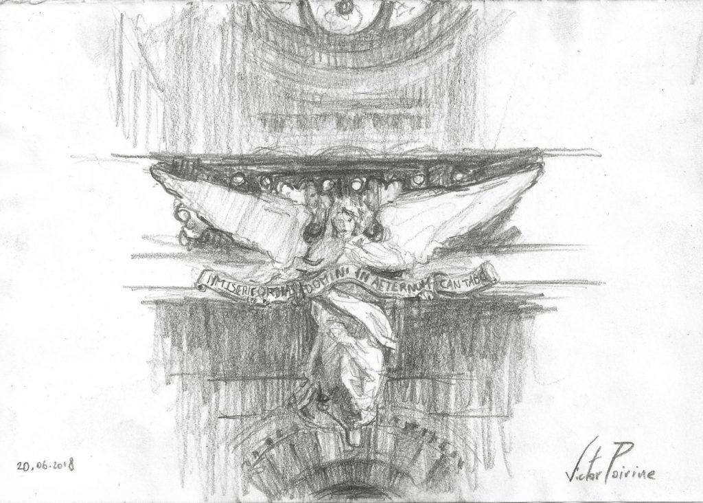 Petit croquis d\'une statue d\'ange situé sous l\'orgue du sacré coeur de Nancy. Crayon sur papier recyclé
