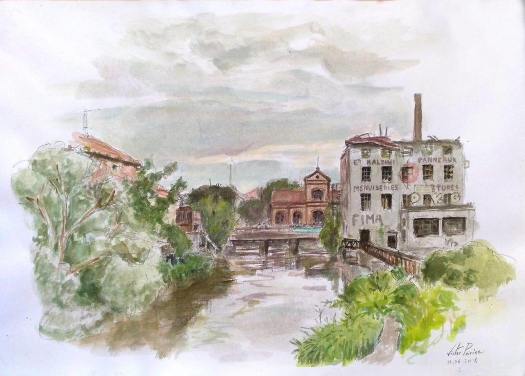 Vue depuis le pont, au dessus du canal passant à Saint-Nicolas-de-Port, direction Varangéville. Crayon et aquarelle sur papier canson. A3