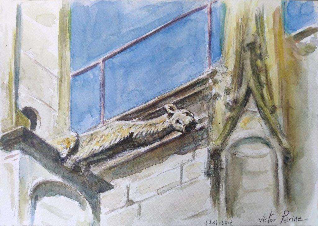 Une gargouille de la Basilique de Saint-Nicolas-de-Port. Crayon et aquarelle sur papier aquarelleA4