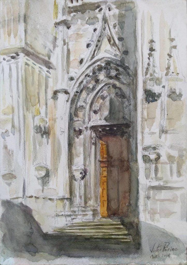 Porte de la Basilique de Saint-Nicolas-de-Port. Crayon et aquarelle sur papier aquarelle.A4Non disponible