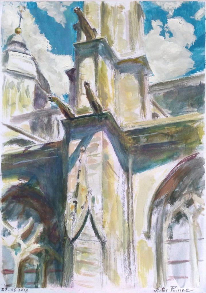 morceau d'une façade de la Basilique de Saint-Nicolas-de-Port. Gouache sur papier canson.A4
