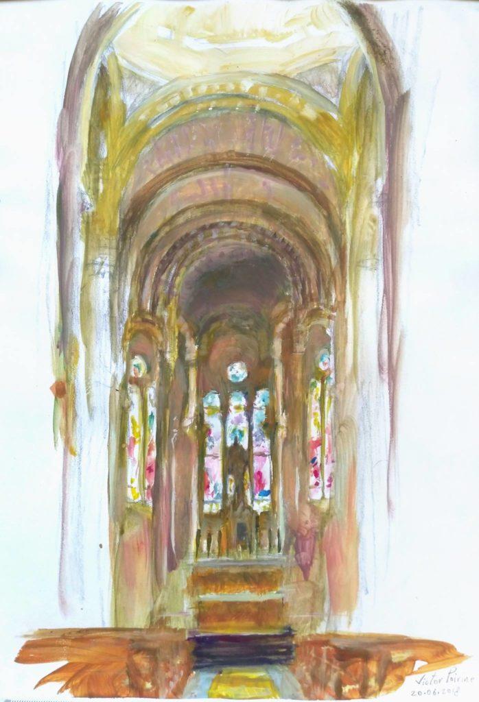 Coeur de l'Eglise du sacré coeur de Nancy. Gouache sur papier canson.A4