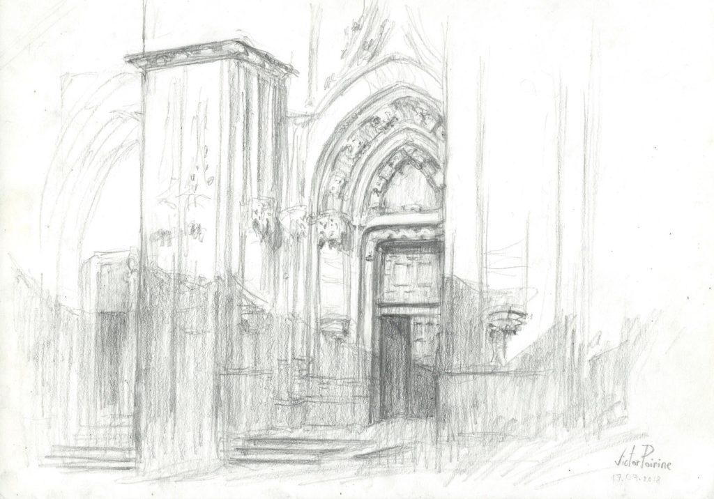 croquis d\'une porte de la Basilique de Saint-Nicolas-de-Port pour donner un exemple lors d\'un cours