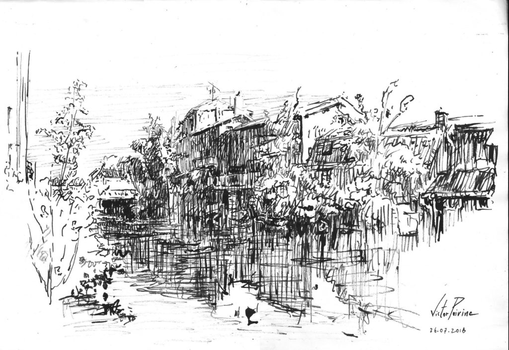 dessin à l\'encre et à la plume bambou au canal à Saint-Nicolas-de-Port