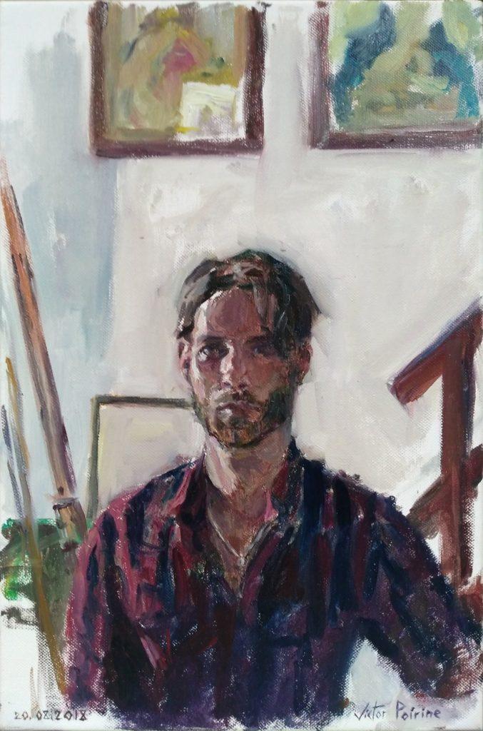 Autoportrait. Huile sur toile de 27X41cm