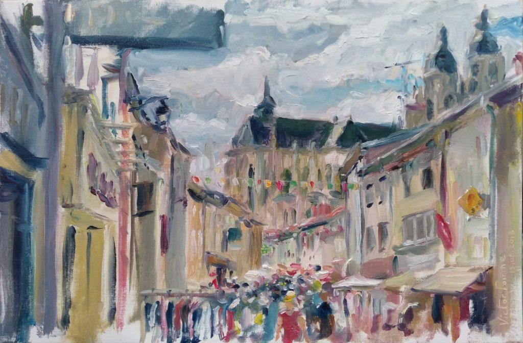 peinture dans Saint-Nicolas-de-Port lors du 15 août. Huile sur panneau entoilé de 27x41cmVendue